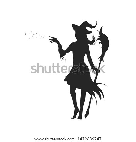 Black silhouette of witch with hat. Halloween party. Isolated image of conjuring sorcerer. Young mage with broom. Elegant withard. Vector illustration Сток-фото ©