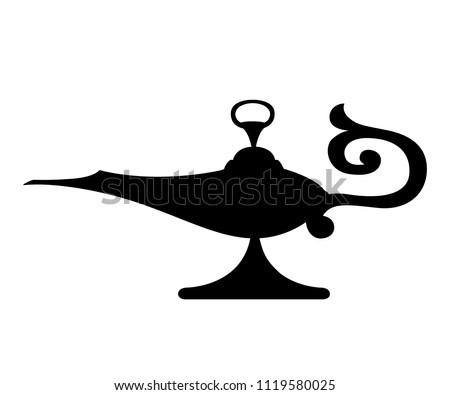 Aladdin Lamp Black And White