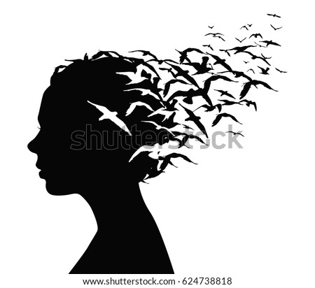 Black silhouette portrait of a pretty girl with birds flying from her head thoughts
