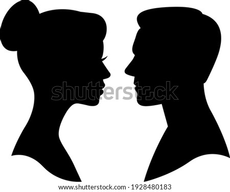 Black silhouette portrait of man and woman in profile head and shoulders vector illustration