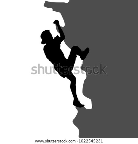 Black silhouette rock climber on white background.