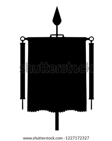 Black silhouette. Roman Vexillum. Signa militaria. Ancient Roman standard. Flat vector illustration isolated on white background.