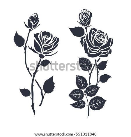 Black silhouette roses and leaves. Rose tattoo.