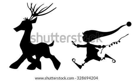 black silhouette running deer