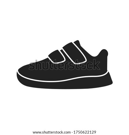 Black Silhouette Shoes, Toddler Shoes, Walking Shoes Vector Illustration Background
