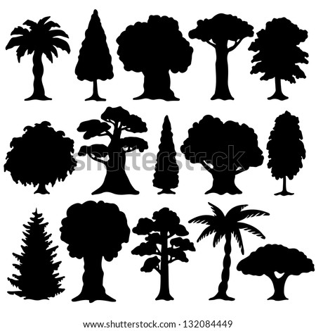Black silhouette various of trees on a white background - vector