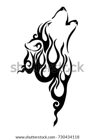 black silhouette wolf head tribal tattoo with fire element concept design with withe isolated background