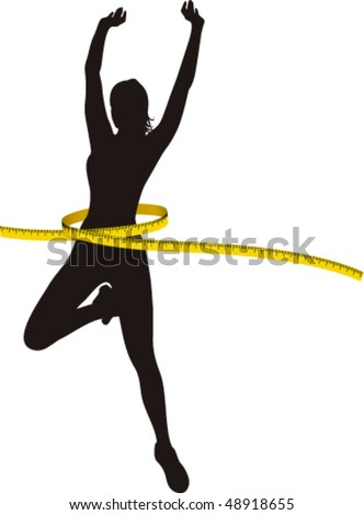 Black silhouette Woman with Yellow Metre