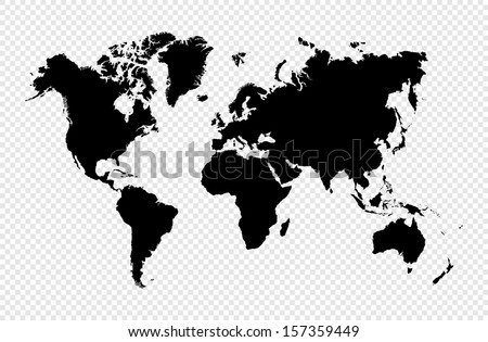 Black silhouette World map isolated. EPS10 vector file organized in layers for easy editing.