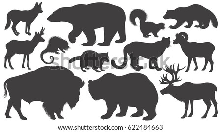 black silhouettes animals of
