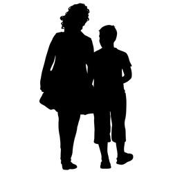 Black silhouettes Family on white background. Vector illustration.