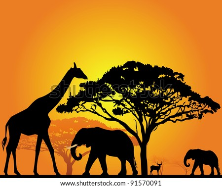 black silhouettes of african animals in the savannah on an orange background