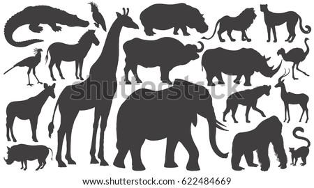 Black silhouettes of African animals on white background set. Vector illustration art. Elephant, giraffe, buffalo, hippo, rhino, lion, cheetah, antelope, ostrich, gorilla, crocodile, warthog, zebra...