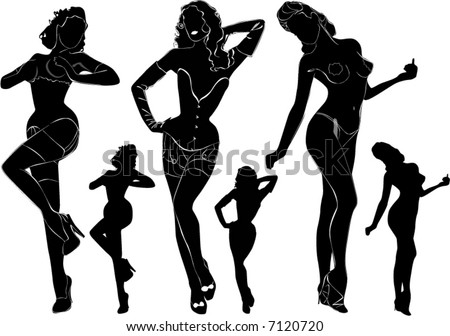stock vector : black silhouettes of beautiful nude woman on the white