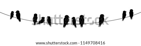 black silhouettes of birds sitting on wire decorative clip art isolated on white background