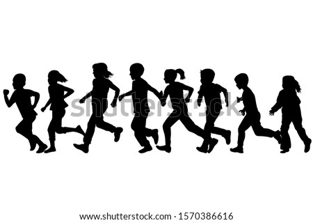 Black silhouettes of children running  stock photo