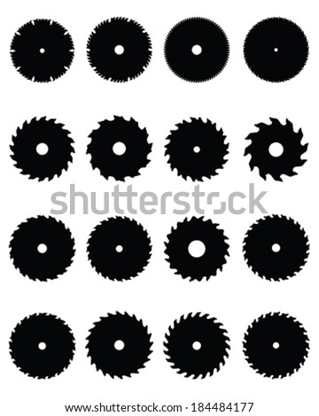 Black silhouettes of circular saw blades, vector