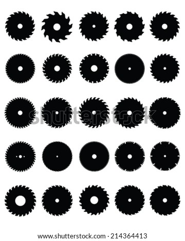Black silhouettes of circular saw blades, vector