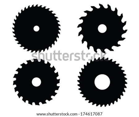 hand saw blade silhouette. black silhouettes of circular saw blades, vector illustration hand blade silhouette