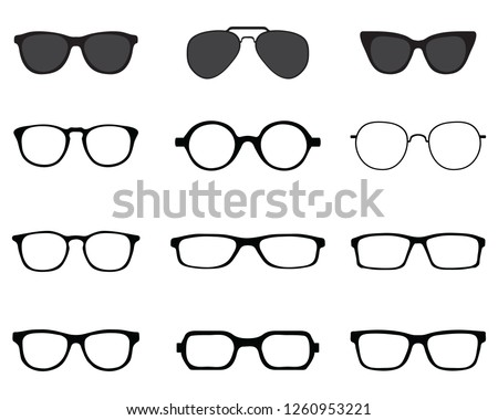 Black silhouettes of different eyeglasses on a white background Foto stock ©