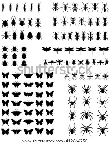 Black silhouettes of different insects on a white background, vector