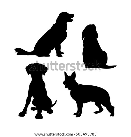black silhouettes of dogs on a