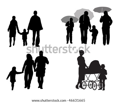 Black silhouettes of family with children on walk - stock vector