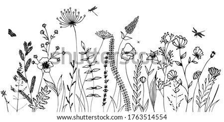 black silhouettes of grass