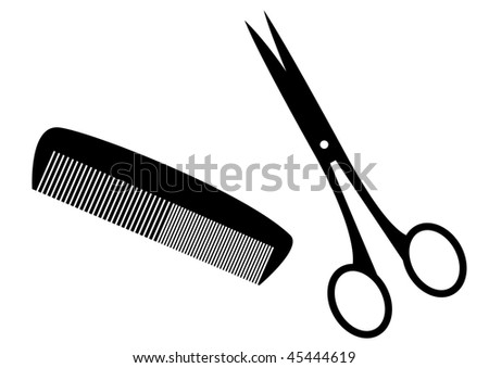 stock vector : Black silhouettes of hairstyle tools.