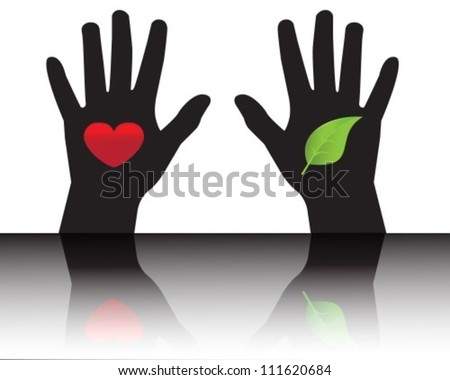 Black silhouettes of hands showing leaf and heart