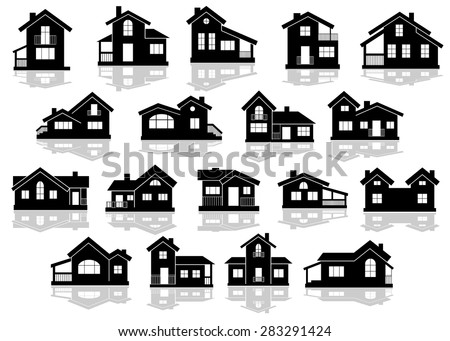 stock-vector-black-silhouettes-of-houses-and-cottages-with-reflections-on-white-background-for-real-estate