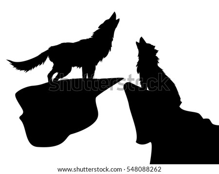 black silhouettes of howling wolves on white background