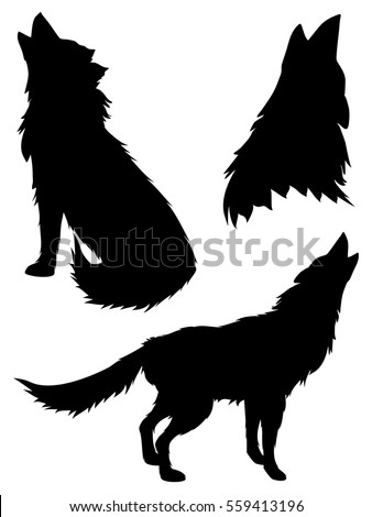 black silhouettes of howling
