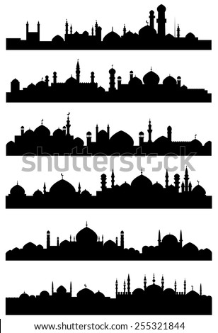 black silhouettes of islamic