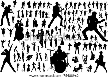 black silhouettes of musicians