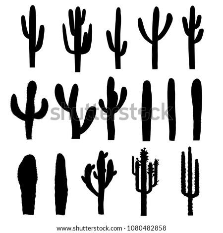Black silhouettes of saguaro cactus. Vector