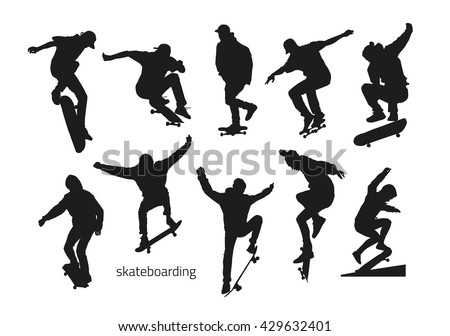 Black silhouettes of skateboarders on a white background