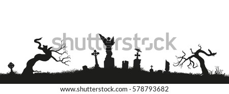 black silhouettes of tombstones