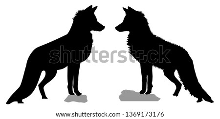 black silhouettes of two red