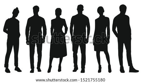 Black silhouettes of women and men standing. People on white background. Businessmen. Vector illustration.