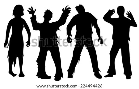 black silhouettes of zombies
