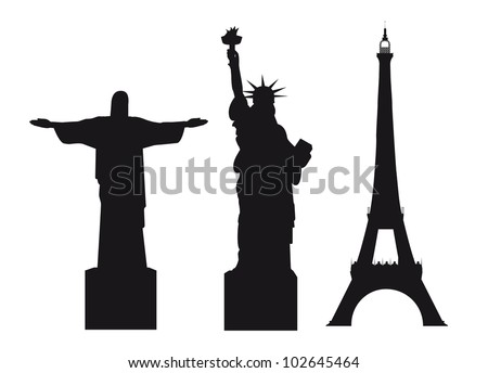 black silhouettes world monuments isolated over white background. vector