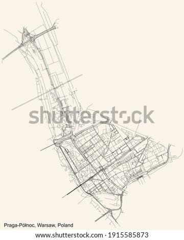Black simple detailed street roads map on vintage beige background of the neighbourhood Praga Północ district of Warsaw, Poland Zdjęcia stock ©