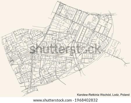 Black simple detailed street roads map on vintage beige background of the quarter Karolew-Retkinia Wschód district of Lodz, Poland Zdjęcia stock ©
