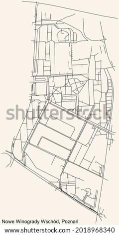 Black simple detailed street roads map on vintage beige background of the quarter Nowe Winogrady Wschód district of Poznan, Poland Zdjęcia stock ©
