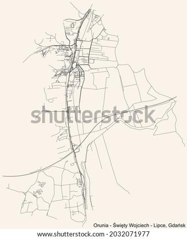 Black simple detailed street roads map on vintage beige background of the quarter Orunia-Św. Wojciech-Lipce district of  Gdansk, Poland Zdjęcia stock ©