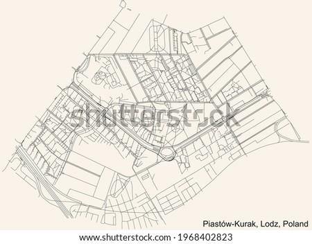 Black simple detailed street roads map on vintage beige background of the quarter Piastów-Kurak district of Lodz, Poland Stok fotoğraf ©