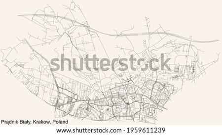 Black simple detailed street roads map on vintage beige background of the quarter Prądnik Biały (White Prądnik) district of Krakow, Poland Zdjęcia stock ©