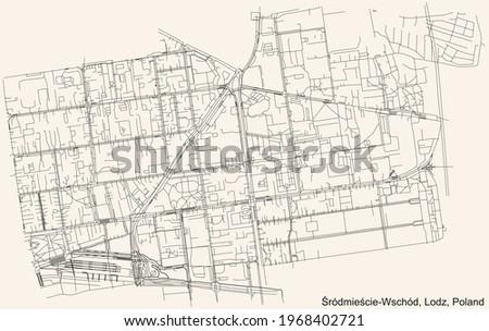 Black simple detailed street roads map on vintage beige background of the quarter Śródmieście-Wschód district of Lodz, Poland Zdjęcia stock ©