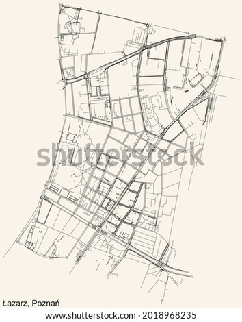 Black simple detailed street roads map on vintage beige background of the quarter Św. Łazarz district of Poznan, Poland Zdjęcia stock ©